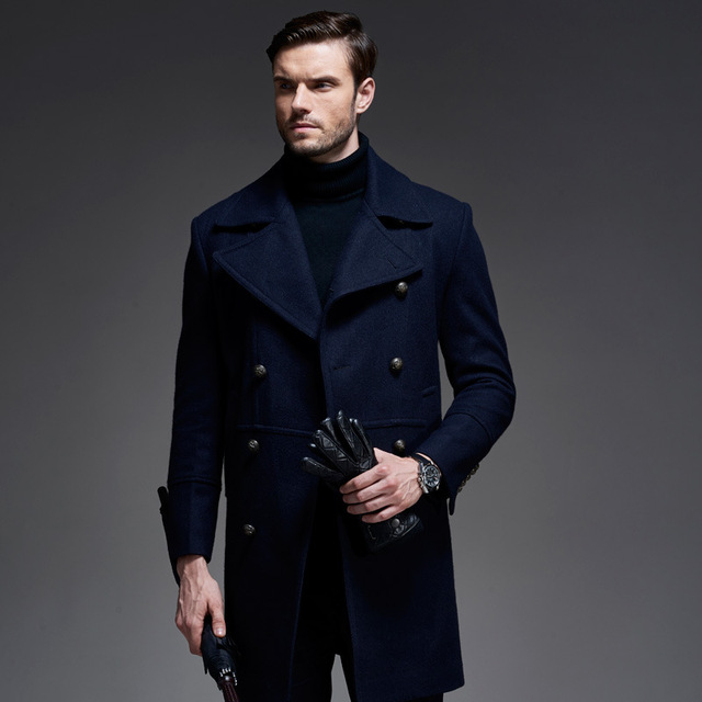6c02e909e05 Hot 2017 New England Style Coat For Men Winter Long Wool Coat Double  Breasted Coat Men