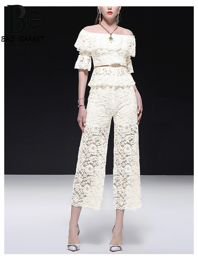 Baogarret Runway Summer Elegant White Lace Pants Suits Women 39 s Sexy Slash Neck Tops Pants Fashion Office Lady Two Piece Set in Women 39 s Sets from Women 39 s Clothing
