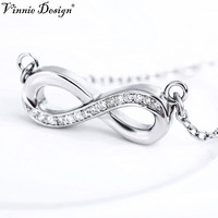 9ca84867bb7a 100 Real 925 Sterling Silver Jewelry CZ Infinity Love Pendant Necklace  Fashion Jewelry For Women Pendants