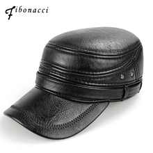 Fibonacci middle aged mens baseball cap brand quality black leather patchwork winter caps adjustable flatcap adult dad hat