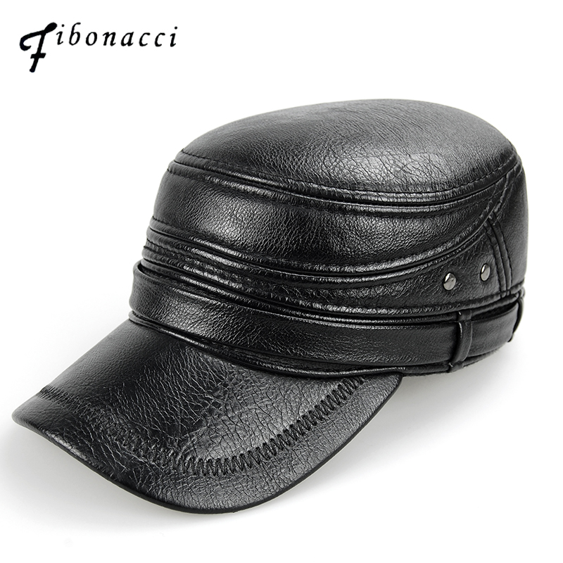 Fibonacci middle aged men's   baseball     cap   brand quality black leather patchwork winter   caps   adjustable flatcap adult dad hat