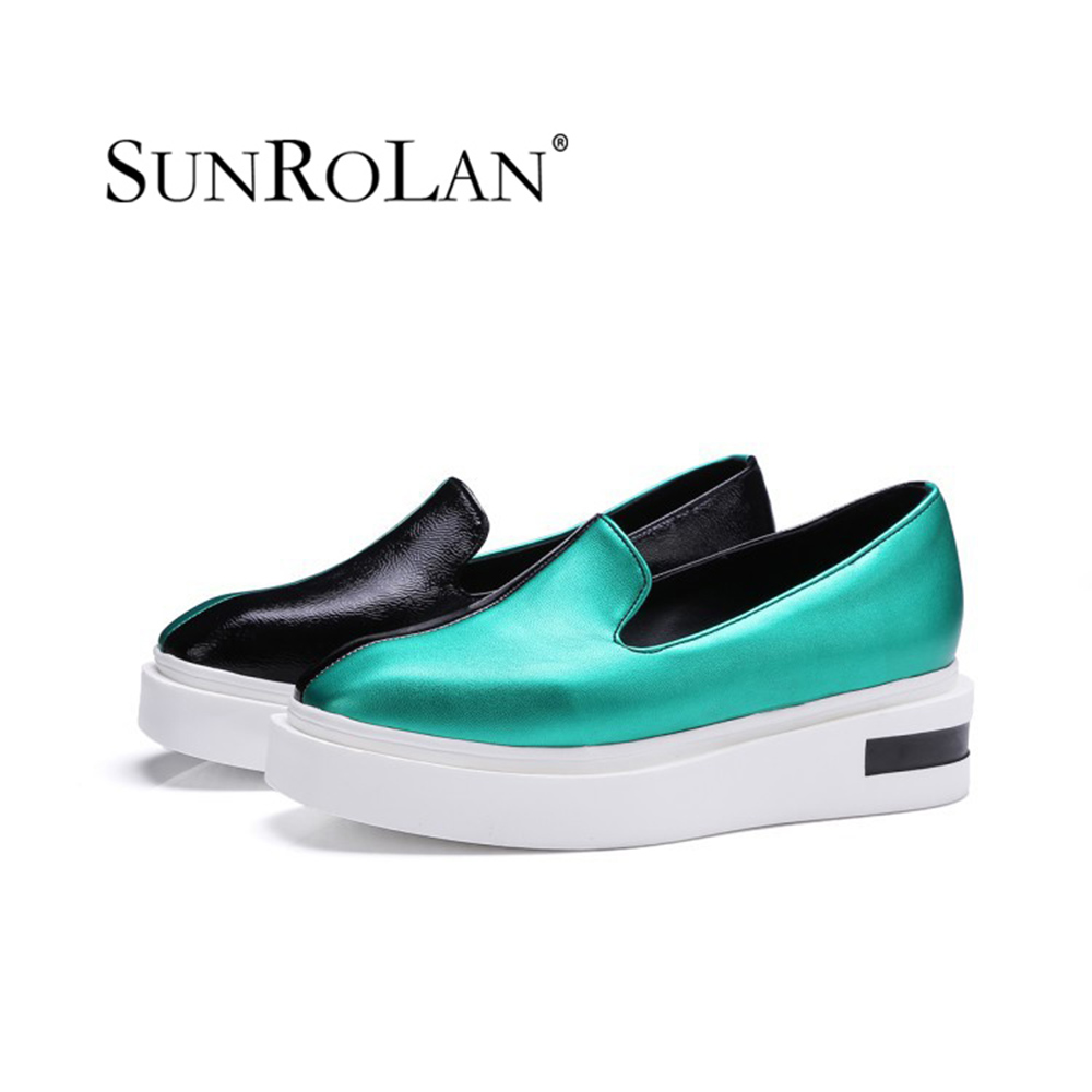 Sunrolan 2017 New Flat Mix Colors Square Toe Slip On Oxford Shoes Girl Fashion Leather Loafers Shoes Free Shipping TTBJ-2911