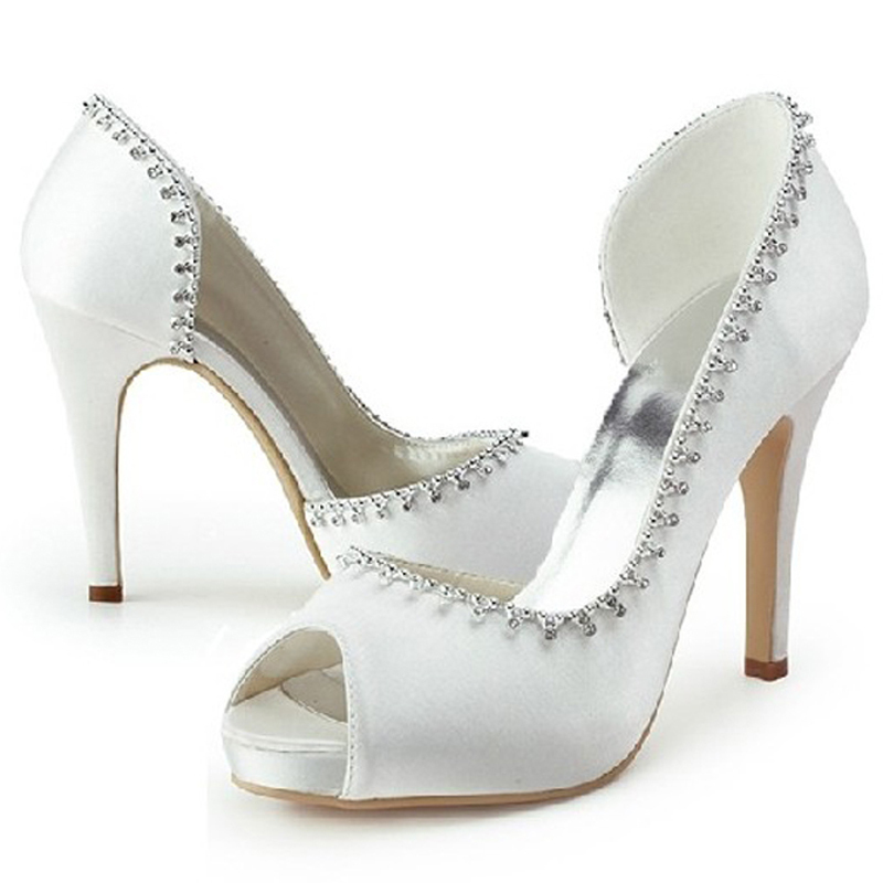 White Wedding Shoes Elegant Satin Bridal Dress P Toe Office Lady High Heels Bridesmaid Prom For Mom In Women S Pumps From On