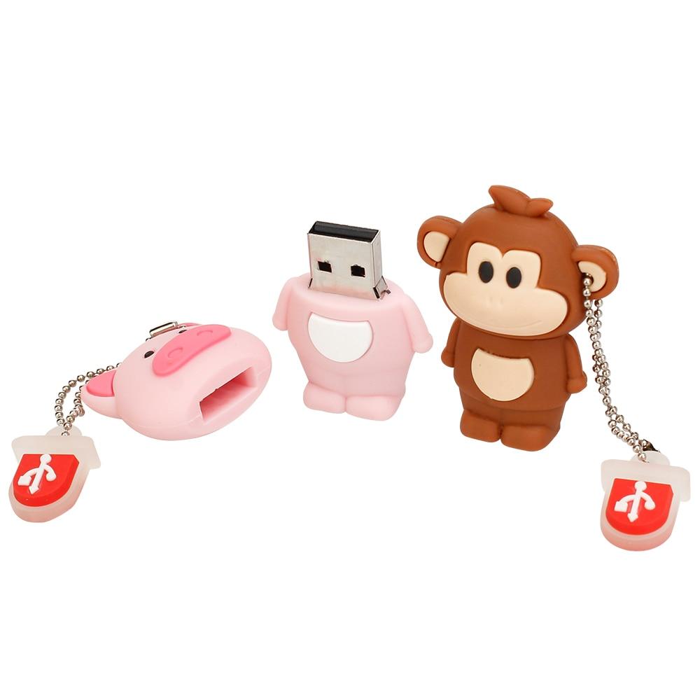 Pen Drive 32gb Cartoon Pink PigMonkeyElephantKoala Usb Flash Drive 64gb 128gb 16gb 8gb 4gb Pendrive Best Gift Free Shipping (5)