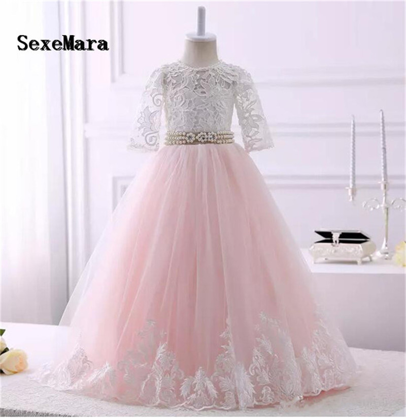 все цены на Blush Pink Ivory Lace Flower Girls Dress with Beaded Ribbon Keyhole Back Puffy Tulle First Communion Dress Christmas Gown