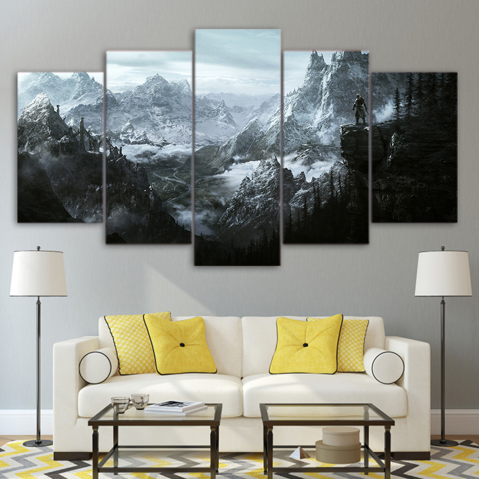 Canvas painting 5 pieces HD printed painting the elder scrolls v skyrim poster home decoration wall art pictures for living room no frame canvas