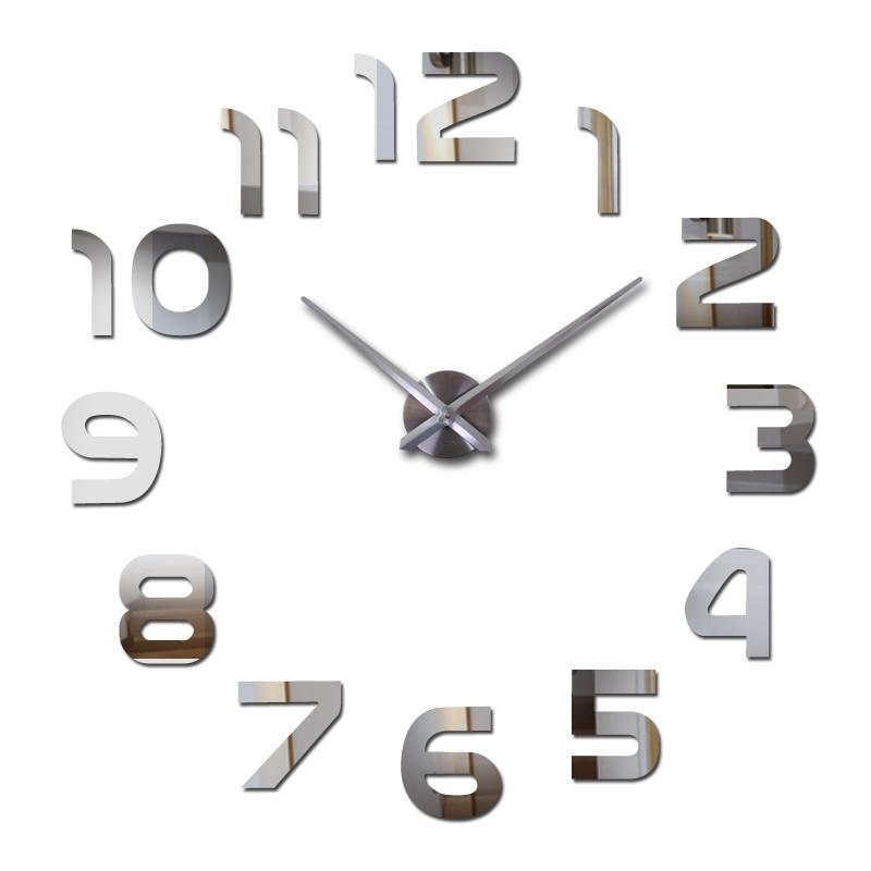 Real new 2018 limitée Quartz montre big diy 3d miroir autocollant En Métal horloge murale moderne art horloges décoration de la maison