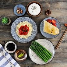 6 teile/satz Japanischen Traditionellen Stil Keramik Teller Porzellan Gerichte Untertasse platte Sushi-teller Reis Noddle Schüssel Geschirr