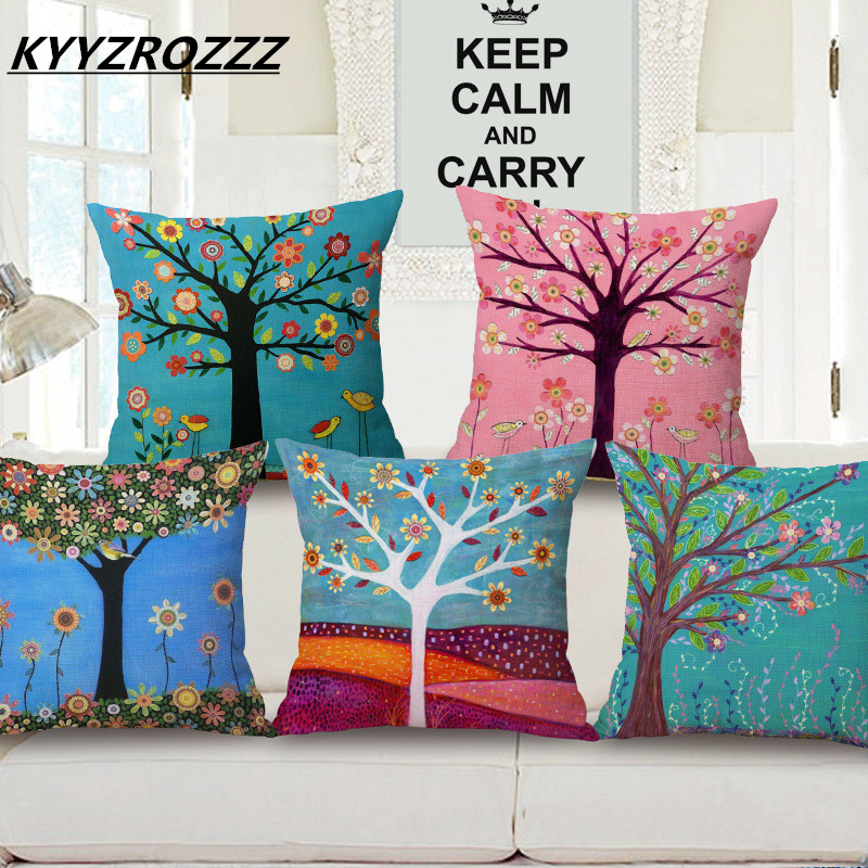 Colorful Season Flower Life Tree Cushion cover Decorative scenery Birds Sofa Car Bed decorative Cotton Linen throw pillow case