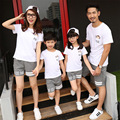 Free Shipping Family matching outfits summer cotton family look sets sports mother daughter Boys Girls family T shirts + Pants