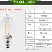 Vintage Edison Led Filament Bulb E27 6W 4W 2W 220V 110V Dimmable Led lamp G45 COB Edison Bulbs Light For Replace Incandescen