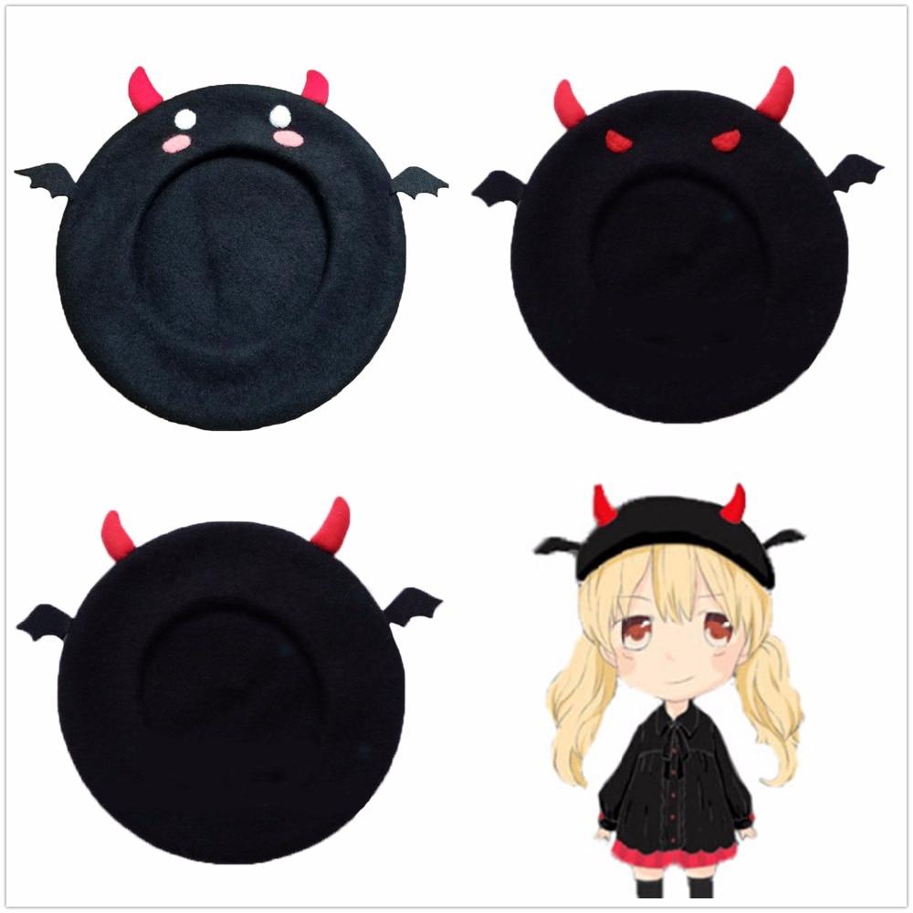 Korea Devil Beret Wool Lolita Girl Autumn Winter Hats Pumpkin Hat Cosplay Accessories Accessory Christmas Decoration For Costume