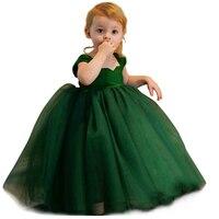 Emerald Green Flower Girl Dresses For Weddings Ball Gowns Tulle Puffy Backless Lovely Kids 2019 Girls Pageant Dresses