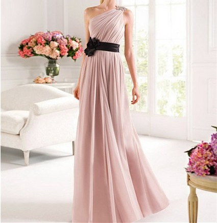 Free-Shipping-Cheap-Price-2014-New-Arrival-Straight-Belt-One-Shoulder-Hand-Made-Flower-Chiffon-Evening