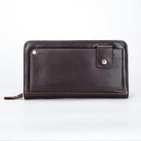 Luxury Male Leather Purse Men S Clutch Wallets Handy Bags Business Genuine Leather Wallets Men Brown
