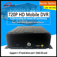 4-way driving recorder 4G GPS hard disk monitoring night vision HD mobile phone computer remote MDVR bus / truck / train цена и фото