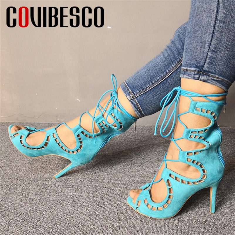COVIBESCO 2019 Summer New Cross-tied Women Sandals Fashion Sexy Solid Party prom Shoes Woman Thin Heels PU Leather Ladies Pumps