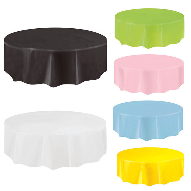 Disposable Round Birthday Party Table Cloth Pure Color Waterproof Round Plastic Table Cover Birthday Party Tablecloth 213*213cm-in Party DIY Decorations ...  sc 1 st  AliExpress & Disposable Round Birthday Party Table Cloth Pure Color Waterproof ...