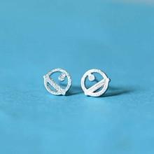 Ruifan Promotion Wholesale Cartoon Cat Real 925 Sterling Silver Stud Earrings for Women Girls Small Jewelry YEA130