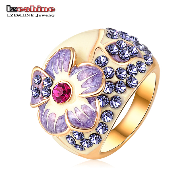 Lzeshine marca roxo esmalte flor anéis da cor do ouro de cristal austríaco swa elemento anel de dedo com full size bague ri-hq0015