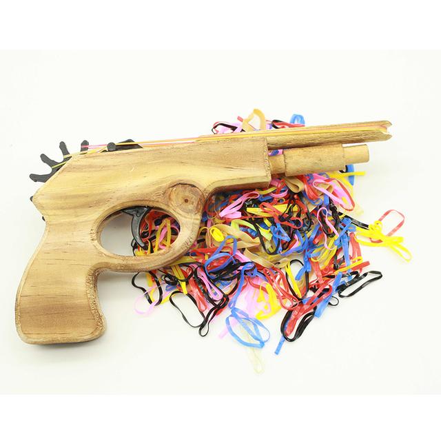 450Pcs Multicolour Bullet Rubber Band Launcher Wooden Gun Hand Pistol Shooting Toys Guns Outdoor Party Sports for Kids Wholesale