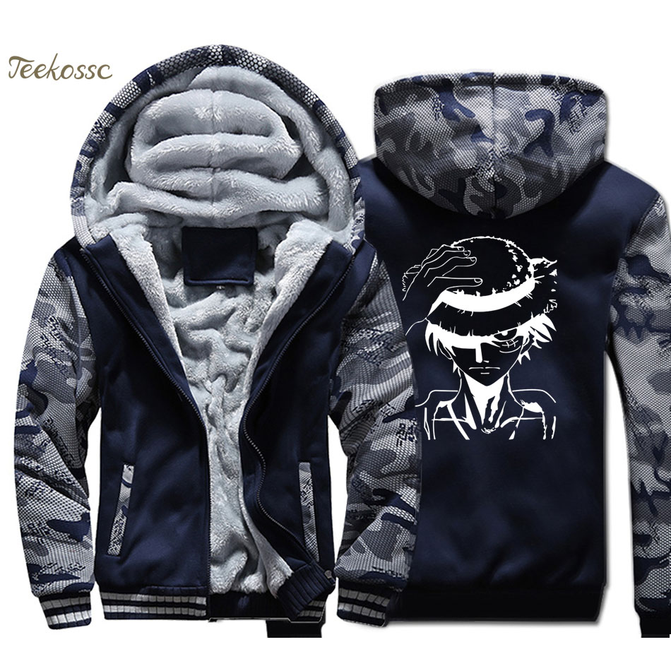 Japanese Anime One Piece Hoodie Men Harajuku Hooded Sweatshirt Luffy Coat Winter Thick Fleece Warm Zip up The Pirate King Jacket