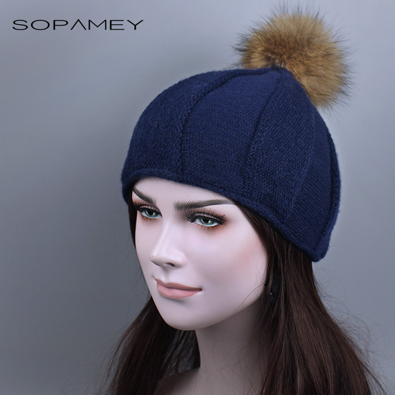 Women winter hat beanies cap for girl fur pom poms and knitted hat Skullies Bonnets Knit Hat female pointy Adult cap 2017 New hot skullies beanies winter hat pom pom caps for women girl vintage solid hemming warm spring autumn hat female wsep21