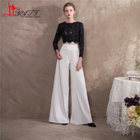 Liyatt 2018 Fashion Mother of the Bride Pants Suits Black Lace Top White Pants Women Formal Evening Party Gown Custom Made