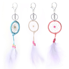 dream catcher keychain wall keychains Handmade Dream Catcher Net With Feathers Keyrings Gift