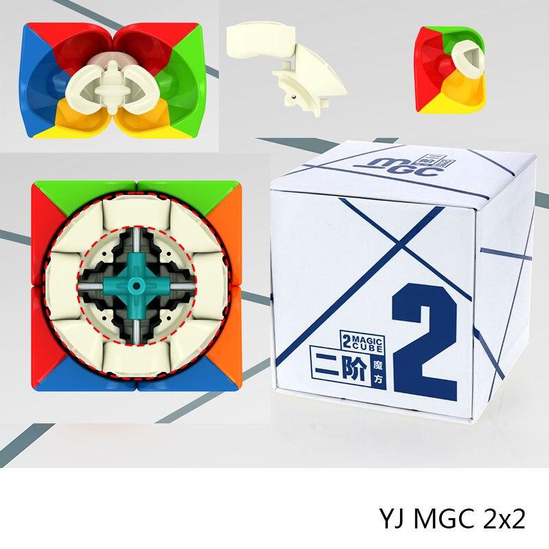Nouveau YJ MGC 2x2x2 Magnétique Magie Cube Noir/Stickerless Yongjun MGC 2x2 Vitesse cube pour la Formation Du Cerveau Jouets Pour Enfants Enfants