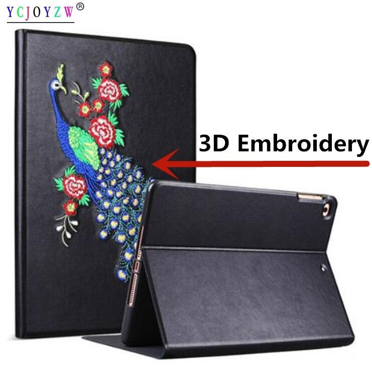 Case For Apple ipad Mini 4 A1550`A1538-3D Embroidery case, YCJOYZW-PU leather+TPU silicone cover Awake Sleep Flip For ipad mini4