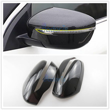 цена на Carbon Fiber Color Car Styling Door Mirror Cover Overlay Rear View Garnish Trim 2014-2018 For Nissan X-trail X trail Accessories