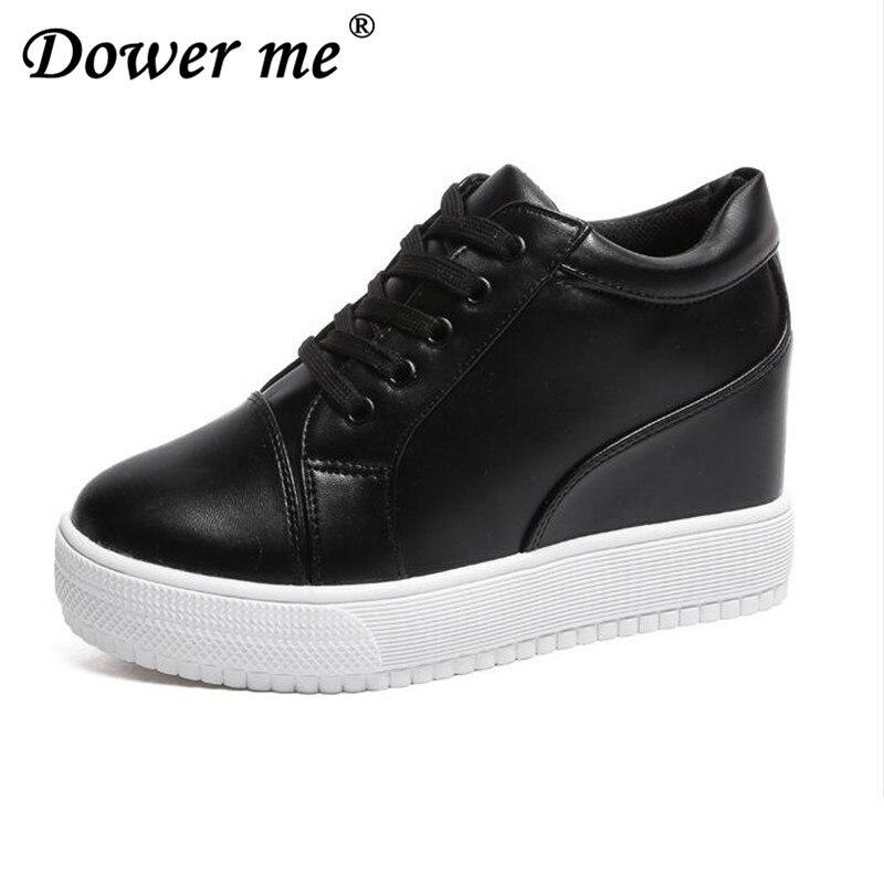 2018 Women High Heels Platform Wedge Shoes Tenis Feminino Casual Basket Femme Krasovki Valentine Shoes Gumshoe size 35 39 black