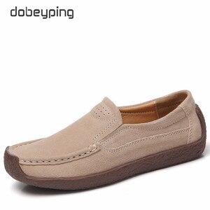 Image 4 - Dobeyping primavera outono sapatos mulher deslizamento em tênis de couro de vaca camurça apartamentos casuais mocassins femininos sapato feminino