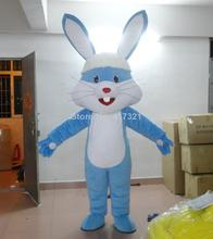 blue easter bunny mascot costume for adult(China)