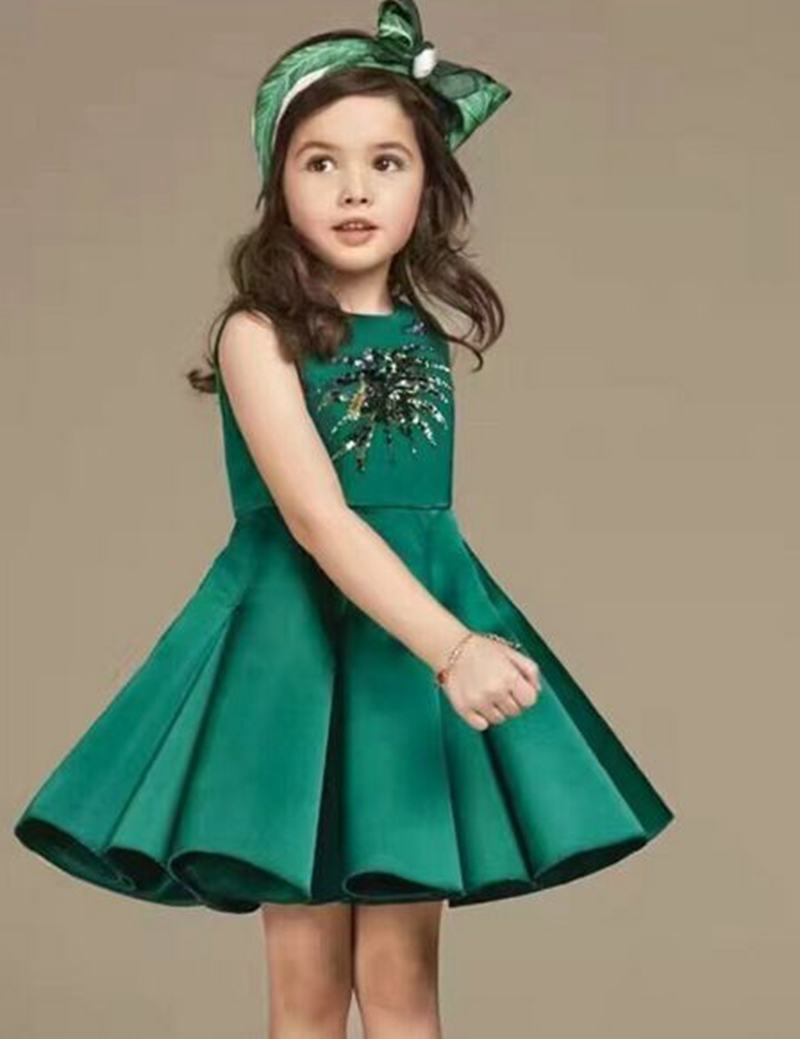 Kids Clothes Summer Girls Dress Green Sleeveless Princess Clothing Children Tutu Birthday Party Dress Sweet Ball Gown Dress 4-9Y 2016 new summer girls kids rose flower princess sleeveless party elegant tutu lace dress cute baby clothes children clothing