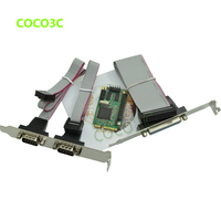 Mini PCIe 2 Serial + 1 Parallel I/O Controller card mini PCI express to RS232 com port + printer port adapter