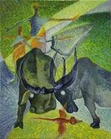 สู้วัวกระทิงบนผืนผ้าใบศิลปะนามธรรมสำหรับตกแต่งผนังสี
