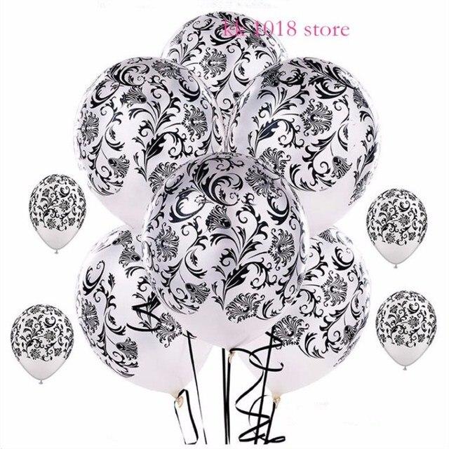200pcs Lot Damask Print Black White 12 Qualatex Latex Balloons