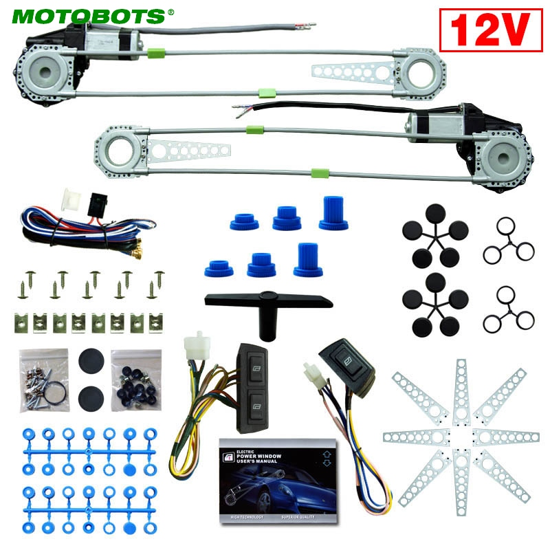 MOTOBOTS 1Set Universal 2-Doors Car Auto Electric Power Window Kits With 3pcs/Set Switches And Harness DC12V #AM4100