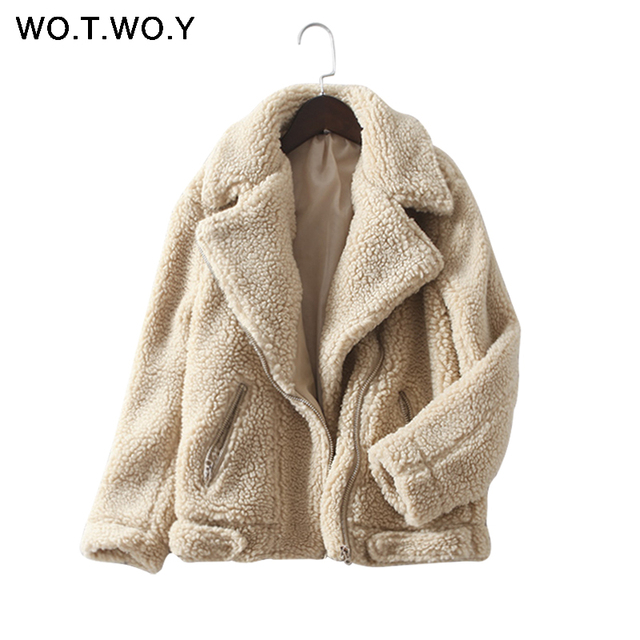 WOTWOY Talles para Las Mujeres de Invierno de lana de Cordero Abrigo de Cachemir Cálido Cremalleras Chaqueta de Gran Tamaño Sólido Casual Abrigos Abrigos Mujer Chaquetas