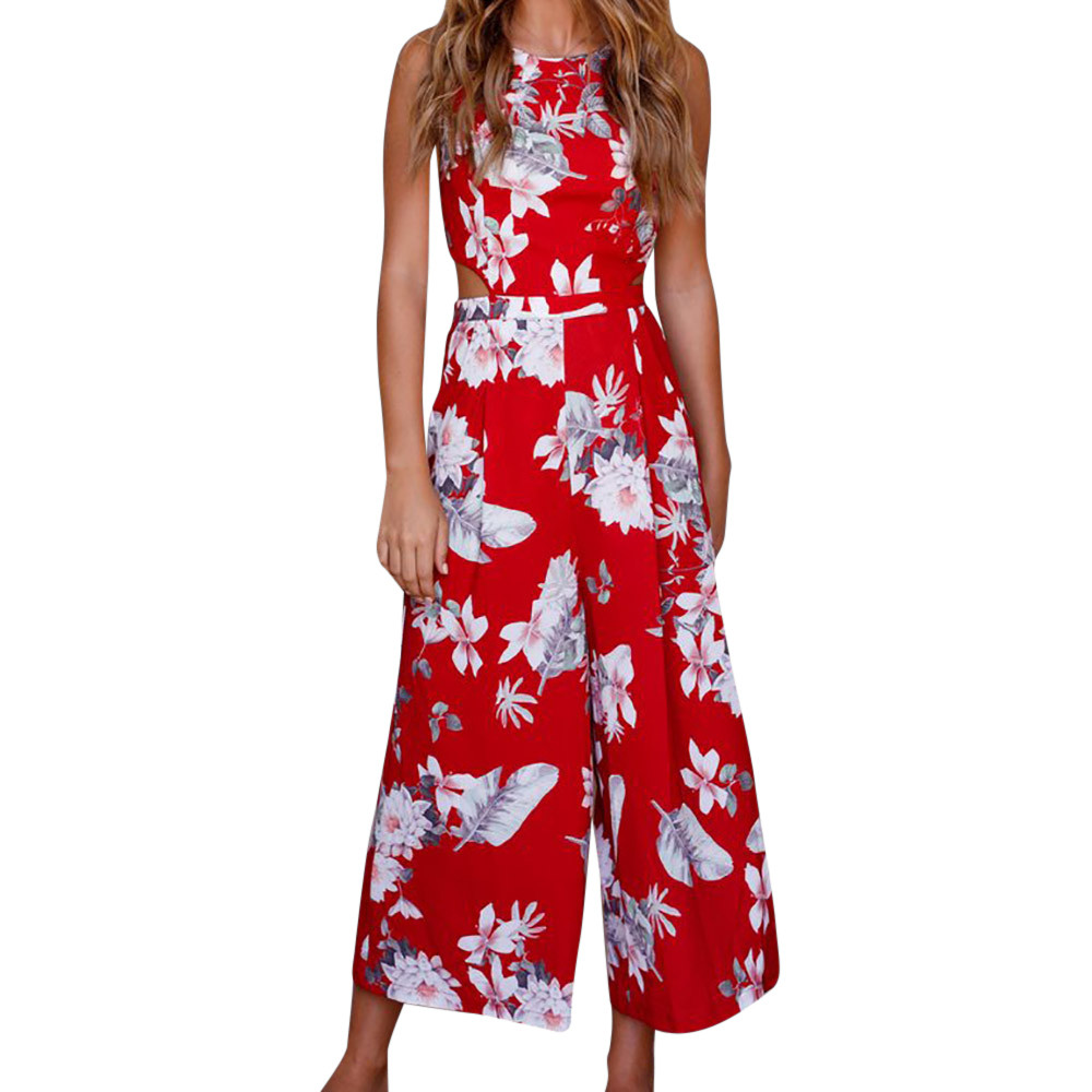 Free Ostrich sexy   jumpsuit   summer rompers womens   jumpsuit   Women Leaves   Jumpsuit   Sleeveless Floral Printed Playsuit D1135