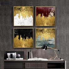 New!Modern Gold Foil Golden Abstract Landscape Canvas Art Print Living Room Restaurant Home Mural Hotel Decorative Painting Arts