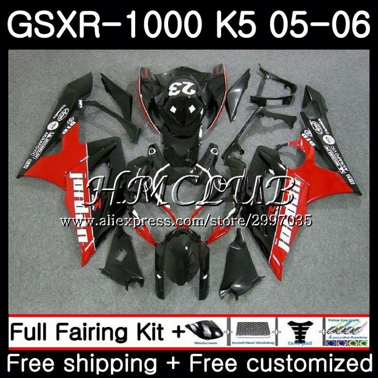 Bodywork For SUZUKI GSXR 1000 Red black hot GSXR-1000 2005 2006 Body 33HC.15 GSX R1000 GSX-R1000 05 06 K5 GSXR1000 05 06 Fairing