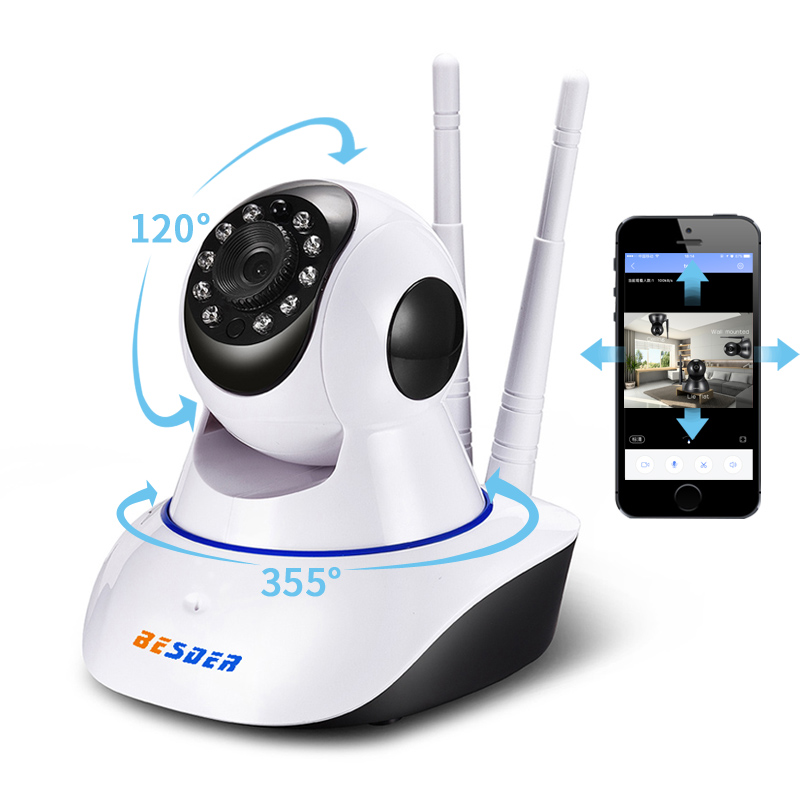 BESDER Full HD 1080P WIFI Camera Two-way Audio P2P Email Alarm Home Security Wireless Camera Baby Monitor SD Card Slot Yoosee