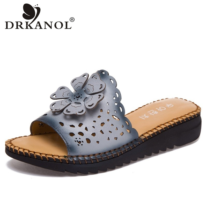 DRKANOL Vintage Handmade Genuine Leather Women Slippers Summer Shoes Low Wedge Slippers comfortable Outside Slides Ladies Shoes цена