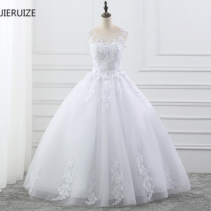 JIERUIZE White Lace Appliques Ball Gown Wedding Dresses 2019 Keyhole Pearls Cheap Wedding Gowns robe de