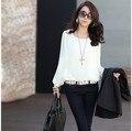 Mulheres casuais blusas brancas chiffon blusa blusas roupas femininas 2017 camisa de manga longa mulheres encabeça 4XL plus size mulher roupas