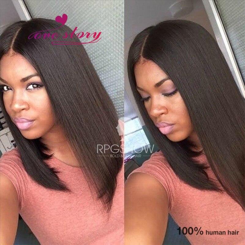 blunt cut short bob wigs middle part brazilian full lace