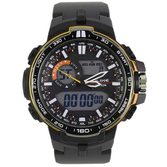 Los Hombres Del Reloj Digital de Silicona Reloj Analógico Analógico LED Digital Fecha Alarma Hombres Deportes